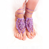 Barefoot sandale, Purple wedding nude shoes barefoot sandle, Sexy crochet lace, pastel, boho, yoga, anklet , bellydance, foot thongs
