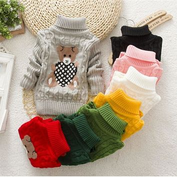 Children Clothes High Quality Baby Girls Boys Pullovers Turtleneck Sweaters Winter Warm Cartoon clothes wear Kids Sweater