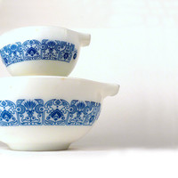 Vintage Pyrex Mixing Bowls Retro Horizon Blue Oven Ware by ByHeart