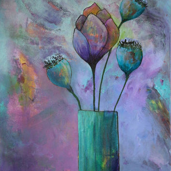 Fine Art Print from Original Acrylic Painting, Home Decor, Purple, Teal, Teal Vase, Abstract Art, Poppy Pods