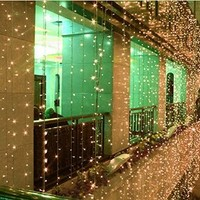 AMARS 3M*3M 300leds Bedroom LED Icicle Curtain Lights Window Wall Waterfall Decoration Lights Outdoor Indoor 8 Modes LED String Light for Wedding, Party, Home (Warm White)