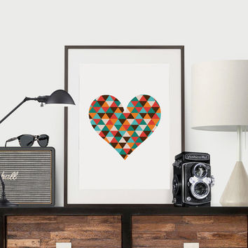 Colorful Heart Print Geometric Wall Art Abstract Art Unique Gift Ideas Fine Art Print Abstract Wall Art Modern Colorful Abstract Heart Print