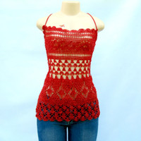 Crochet Half Top lace back