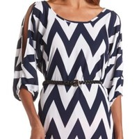 Belted Cold Shoulder Chevron Tunic Top - Navy Combo