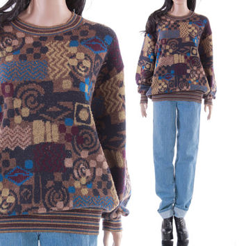 90s MISSONI Sport Boyfriend Sweater Earth Tone Abstract Print Slouchy Crew Neck Designer Jumper Hipster Vintage Unisex Clothing Size Large