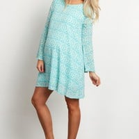 Mint-Green-Abstract-Bell-Sleeve-Maternity-Tunic/Dress