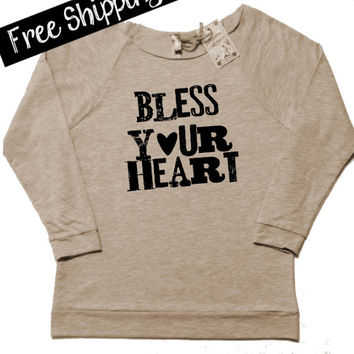 BLeSS YouR HeaRT. Country Girl Clothing. Southern Girl. Country Shirts. Wide Neck Sweatshirt. Country Top. Size S-XXL. Free Shipping USA