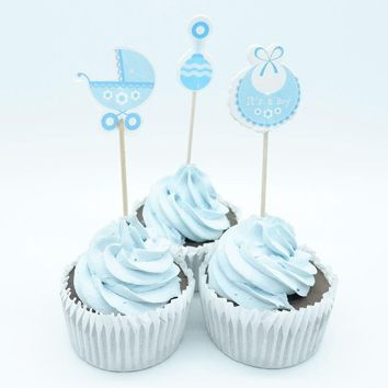 18pcs Baby Shower Cupcake Toppers pick  Baby Shower Favors Party Supplies Decorations Its a Boy Girl Blue pink Game