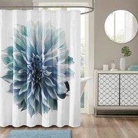 Shower Curtain Floral Aqua