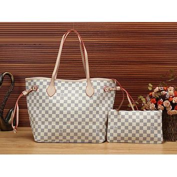 "LV ""Louis Vuitton"" Stylish Women Shopping Leather Handbag Bag Cosmetic Bag Two Piece Set I"