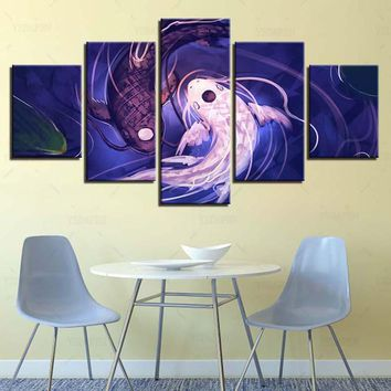 Modern Painting On Canvas Wall Art Pictures 5 Panel Fish Koi Yin Yang Home Decoration Posters Framework Living Room IM-507