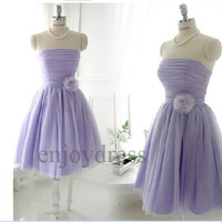 Custom Lavender Short Tulle Bridesmaid Dresses Fashion Prom Dresses Evening Dresses Wedding Party Dresses Party Dress Cocktail Dress