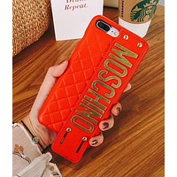 MOSCHINO metal personalized hand strap iphone6/7/8/x mobile phone shell Red