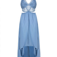 Blue Lace Top Cut Out Backless Hi-lo Dress