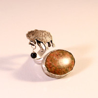 Circus Elephant Open Double Ring with Leopard Skin Jasper and Gold Foil Bead- Sterling Silver- Antique Patina Finish- Fit Size 5-7