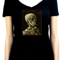 Vincent Van Gogh Smoking Skeleton Women's V-Neck Shirt Top