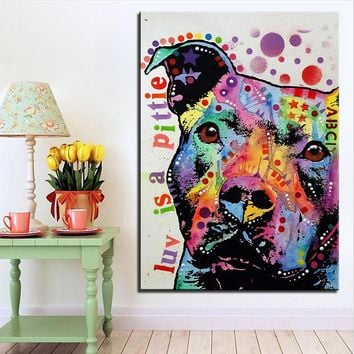Large size Print Oil Painting Wall painting thoughtful pitbull Home Decorative Wall  Art Picture Living Room paintng No Frame