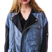 UNIF Contrast Slacker Moto Jacket Black/Grey