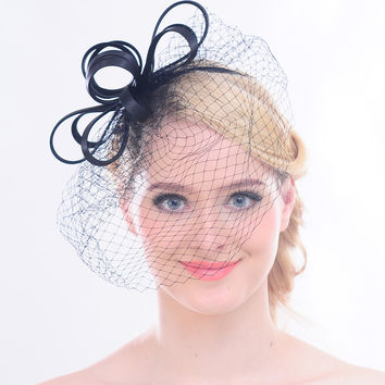 Faybox Women Dress Vintage Fascinator Wool Pillbox Hat Party Wedding Veil Feather Net for Cocktail