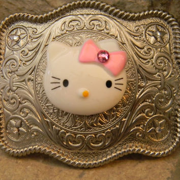 Hello Kitty Rhinestone Belt Buckle Silver Western Engraved Womens Girls Kids Belt Buckle
