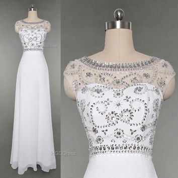White Bridesmaid Dress Handmade beading/Crystal Rhinestone Chiffon Prom Dresses Long Prom Dress Party Dress Long A-Line Formal Dress
