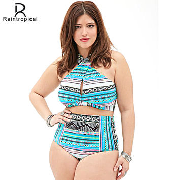 Plus Size Swimwear High Waist Swimsuit High Neck Bikini 2016 Cross Bikinis Women Swimsuit Top Bathing suit female swimwear 5XL