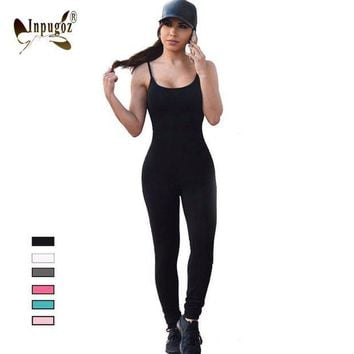 ICIKHY9 2016 Solid Sexy Strap Backless Bodycon Bandage Long Pants Summer Basic Jumpsuit Women Sexy Rompers One Piece Bodysuits For Women