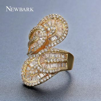 NEWBARK Especial Big Leaf Design Rings Stacked Double Leaves Channel Setting Gold Color Crystal For Female Wedding Ring Jewelry
