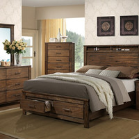 Poundex F9329Q-4PC 4 pc Melanie natural finish wood queen bed set