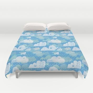 Funny Little Clouds Duvet Cover by Noonday Design | Society6