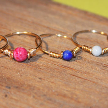 Custom Set of 5 Thin Rings, Free Shipping, Red, White, Green, Blue, Fossil, Adventurine, Lapis, Howlite, Knuckle Ring Stacking Ring