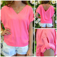 Double Take Pink Piko Top