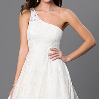 One Shoulder Lace My Michelle Dress with Sheer Back