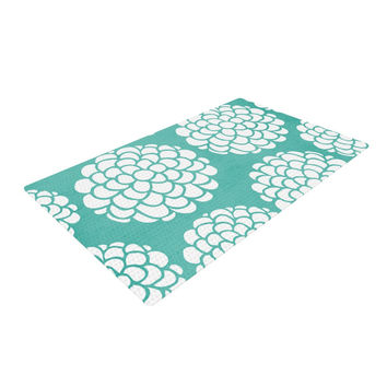 "Pom Graphic Design ""Hydrangea's Blossoms"" Teal Circles Woven Area Rug"