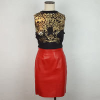 6 Vintage Bright Red Leather Pencil Skirt High Waist Zipper Back Tight Form Fitting Bodycon Skirt Knee Length Vintage Fashion Vintage Skirt