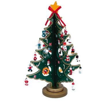 "Yunko 12"" Wooden Tree with Miniature Wooden Ornaments, 28 Piece Set,Christmas Tree"
