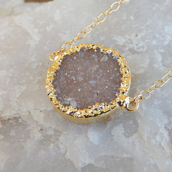 Champagne Druzy Necklace 14K Gold Circle Crystal Quartz Drusy - Free Shipping OOAK Jewelry