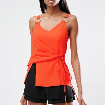Lavish Alice Satin Tie Wrap Front Rose Gold Ring Detail Cami Top at asos.com