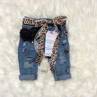 Lola Baby Girl Distressed Jeans with bling ~ Leopard Distressed Jeans ~ Distressed Girl Skinnies ~Girls Distressed Jeans ~ Baby ~ Toddler ~