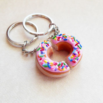 Polymer Clay Pink Strawberry Frosted Doughnut With Rainbow Sprinkles Half Best Friend Bff Friendship Key Chains, Key Rings, Custom