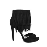 Dance To The Fringe Heels In Black