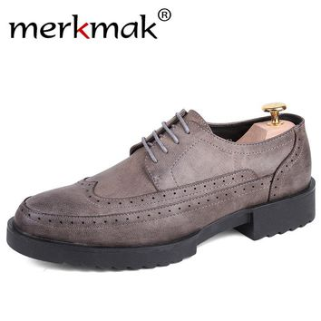 Merkmak Classic Luxury Brand Mens Dress Shoes High quality Casual Business Office Wedding Leahter Shoes Thick Heel Flats Oxfords