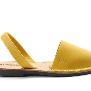 Menorca Leather Avarcas - Mustard