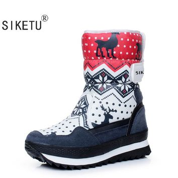 SIKETU Free Shipping 2017 Popular Snow Boots For Women Flat Heel 3 Colors High Quality Cotton Waterproof Platform Boots ESOV -70
