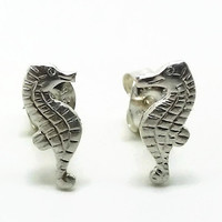Sterling Silver Seahorse Earrings, Silver Animal Earrings, Seahorse Studs, Ocean Jewelry