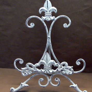 Fleur de lis Ornate Decorative Cast Iron White White Distressed Easel Book Art Picture Tablet Holder Stand FDL French Paris Shabby Chic