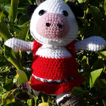 Cow amigurumi - stuffed animal - little calf toy -baby cow doll - crocheted cute figurine - Farm animal toy - handmade gift moo cow plushie