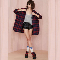 Plaid Long-Sleeve Collared Shirt