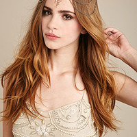 Rhinestone-Embellished Draped Headpiece