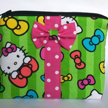 Hello Kitty Makeup Bag / Neon Cosmetics Pouch / Bright Bows / Cosmetic Clutch / Zipper Make Up Bag / Hot Pink Polka Dot / Striped Lime Green